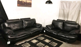 : Ex display black real leather 3+2 seater sofas
