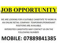 Urgent Job Opportunity to work in a Clothing Retail Company Part time or Full Time Immediate Start
