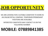JOB OPPORTUNITY IN AN ONLINE RETAIL CLOTHING COMPANY