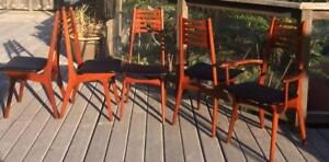 Set of 5 Niels Otto Møller Solid Teak Chairs Reupholstered Mid Century Modern $249 each