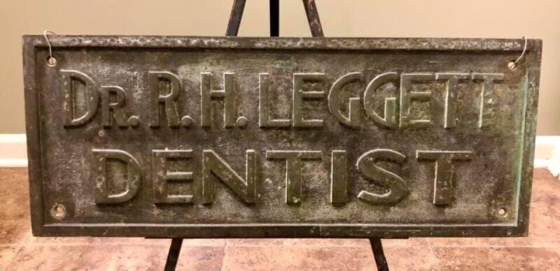 Large Antique 1900's - 20's Cast Bronze Dentist / Dental Embossed Placard Sign