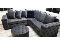 🖤🖤 NEW ASHTON CHESTERFIELD PLUSH VELVET 🖤🖤 CORNER SOFA OR 3+2 SOFA SET AVAILABLE NOW IN STOCK