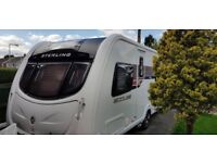 Streling Eccles Ruby 4 Berth Touring Caravan with Fixed Bed and End Washroom