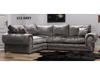 BRAND NEW SOFA TANGO CRUSH VELVET CORNER OR 3+2 SEATER EXPRESS DELIVERY ''1 YEAR WARRANTY''