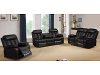 Miami Black 3 + 2 + 1 PU Leather Recliner Sofa Suite Set Couch BRAND NEW