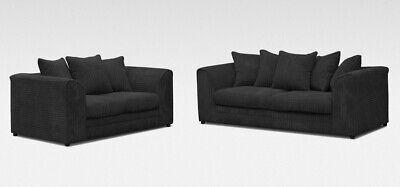 *** BRAND NEW** Luxor Modern Black Fabric 3 Seater 2 Seater Sofa Cheap Corner