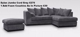 🛑🛑Cheapest Ever Price🛑🛑 Brand New Italian Double Padded Dylan Jumbo Cord Corner or 3+2 Sofa