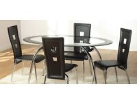 Beautiful Black Border Oval Tempered Glass Dining Table with 6 Chairs plus Matching Coffee Table