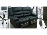 ROMA 2 Seater Recliner in Black