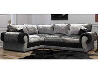 FREE FOOTSTOOL with Crushed velvet Ashley corner sofa