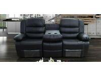 ROMA 3+2 Seater Recliner Leather in Black