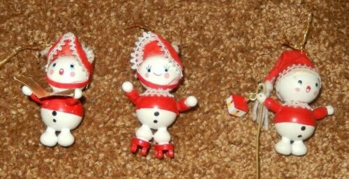 3 VTG WHITE WOOD ROUND BODY CHRISTMAS ORNAMENTS