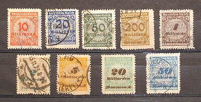Deutsches Reich Inflation Nr. 319 B - 330 B gestempelt
