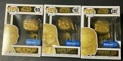 Funko Pop Lot of 3 Star Wars Leia Darth Vader Luke Gold Walmart Exclusive