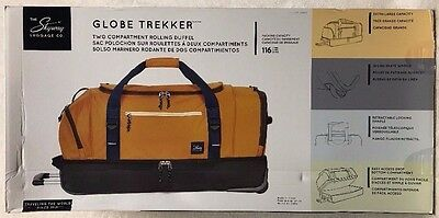 """NEW Skyway Luggage Co. Globe Trekker Two Compartment 30"""" Rolling Duffel (GOLD)"""