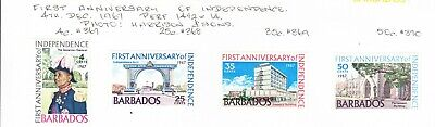 Barbados 1967  - 1st Anniversary  Independence set MH