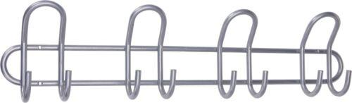 55cm Silver Heavy Duty Coat Hook Clothing Rail 8 Hooks Pegs Metal Hooks