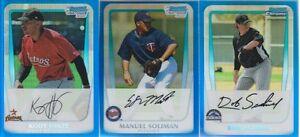 2011-Bowman-Chrome-Prospects-Blue-Refractor-3-Card-Lot-Near-Mint-Condition