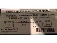 2 Tickets for ATP World Tour finals Thursday 17th November start 12:00