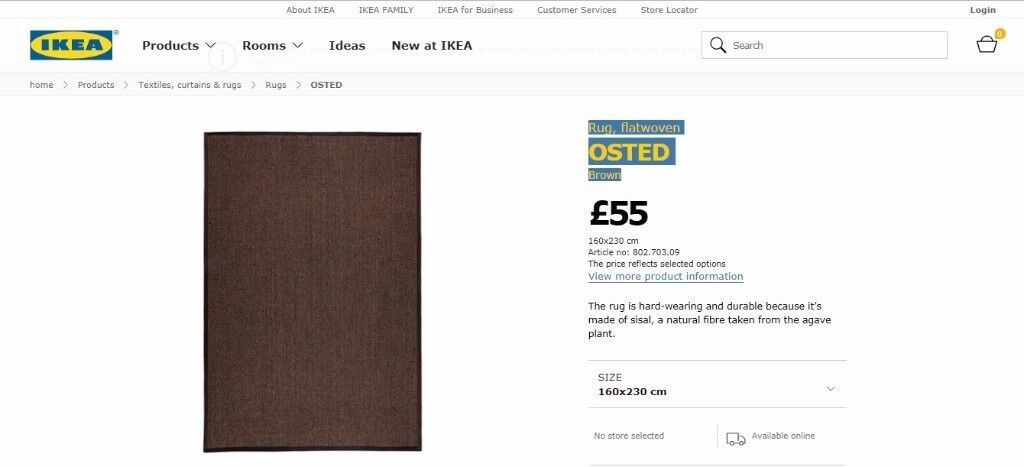 Rug, flatwoven Ikea OSTED Brown