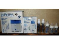 Dr BROWNS Bottle Warmer & Bottle Steriliser + 5 Dr Browns Natural flow bottles