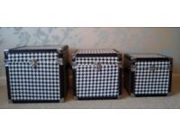 3 Square Black & White Houndstooth Pattern Storage Boxes