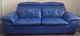 Italian Leather Sofa Blue 3 and 2 Seater in Excellent Condition
