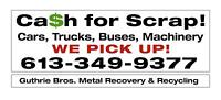 CA$H $$$$$ for your scrap Cars Trucks Buses Machinery