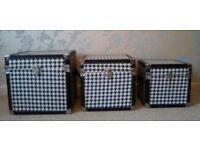 Set of 3 Square Black & White Houndstooth Storage Boxes with Lids NEW
