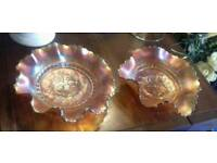 BEAUTIFUL PAIR OF VINTAGE IRIDESCENT AMBER GLASS FLUTED CARNIVAL DISHES
