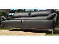 Ex-display Enzo 3 + 2 Seater Black Leather Sofas.