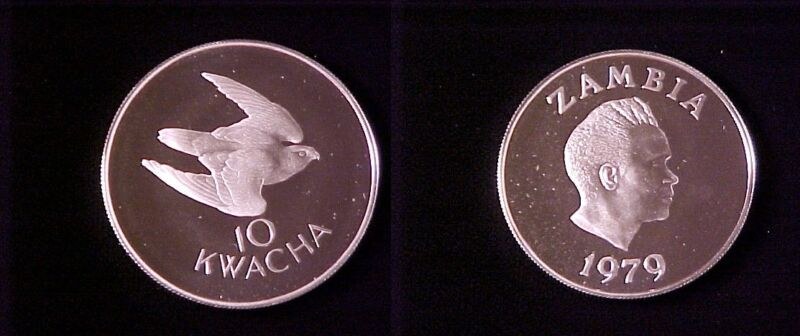 1979 Zambia Large Proof Silver 10 Kwacha- Falcon