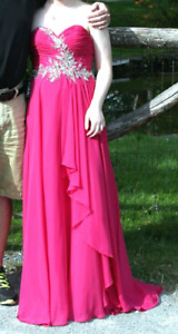 Prom Dress Fuschia - Worn Once Good Condition