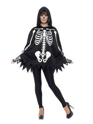 Smi - Damen Kostüm Skelett Poncho Handschuhe Halloween
