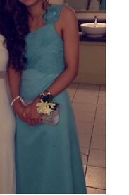 Beautiful Aqua blue formal dress with flowers over one shoulder