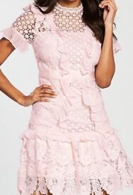 Pink lace and frill dress