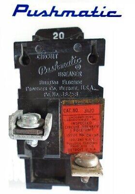 Pushmatic 20 Amp 1 Pole 31120 Tested Bulldog 120240v Circuit Breaker Used