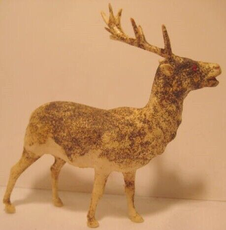 "Old Celluloid Christmas Reindeer w/ Glitter - 5 3/4"" tall w/ Rhinestone Eyes"
