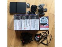 Sony PS2 Playstation 2 Slimline Console and 21 game bundle with two Dualshock Controllers