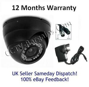 DOME CCTV Camera - IR Vision - Black/White Housing [3.6mm Lens] - 12m Warranty