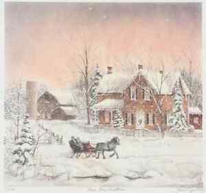 "Gerald Topolinsky ""Home for Christmas"" Framed Signed 77/490 London Ontario image 2"