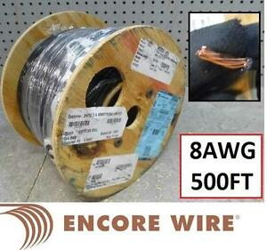 NEW ENCORE WIRE 8AWG COPPER WIRE - 115710306 - Super Slick 8-AWG THWN-2 Black Copper Strand 500-FT