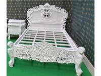 White ornate single bed. Princess like