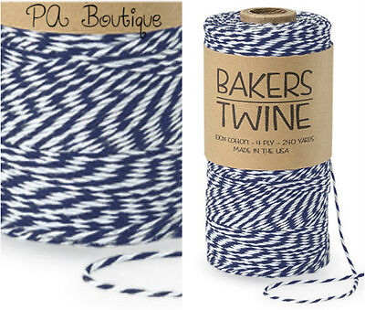 Navy Blue & White Duo 4-ply 100% Cotton Baker's Twine *Your Choice of Length*](Baker's Twine)