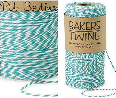 Aqua Blue & White Duo 4-ply 100% Cotton Baker's Twine *Your Choice of - Bakers Twine