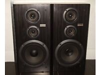 Large Pioneer stack hifi system, glass cabinet and two large speakers