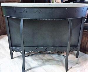 Unique Rustic Metal Table.  Half moon shape