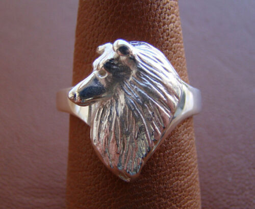 Sterling Silver Sheltie  Shetland Sheepdog Head Study Ring
