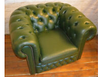 Chesterfield green tub armchair vintage chairs leather antique lounge club vintage seating castors
