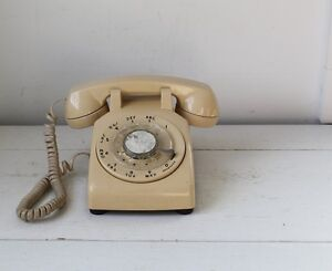 vintage rotary telephone--tan color